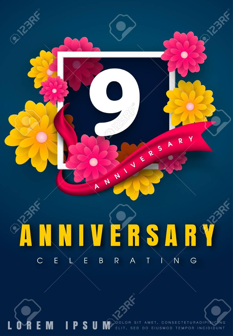 carte d invitation anniversaire 9 ans modele de celebration 9e anniversaire avec des fleurs et des elements de design moderne fond bleu fonce