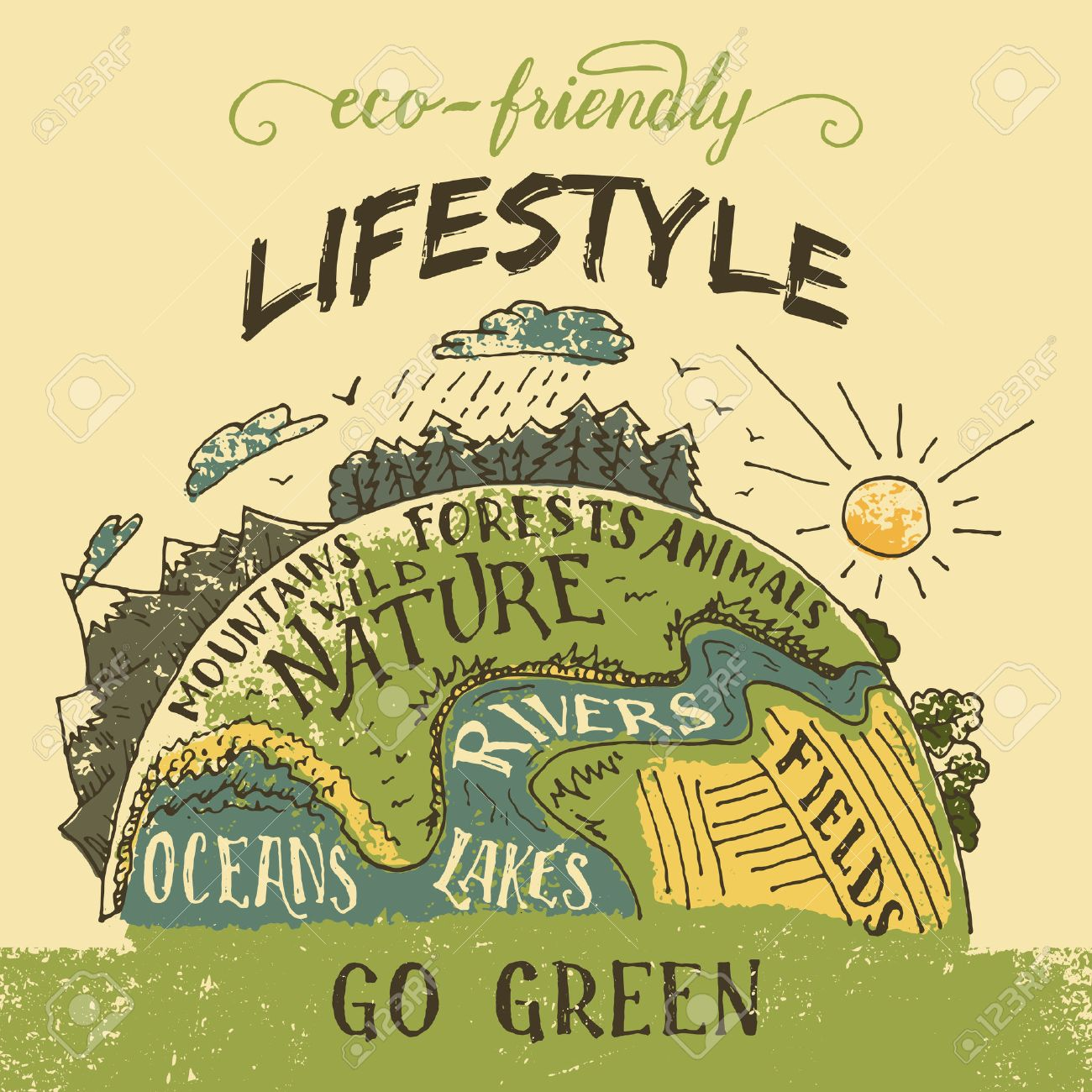 Eco Friendly Lifestyle Concept Go Green Eco Poster The Planet Royalty Free Cliparts Vectors And Stock Illustration Image 48220009