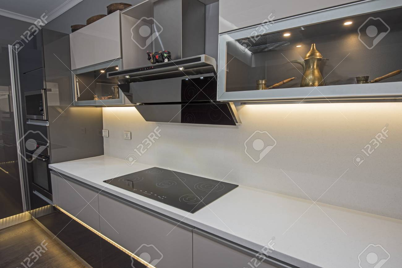 interior design decor showing modern kitchen cooker hob appliance stock photo picture and royalty free image image 124972370
