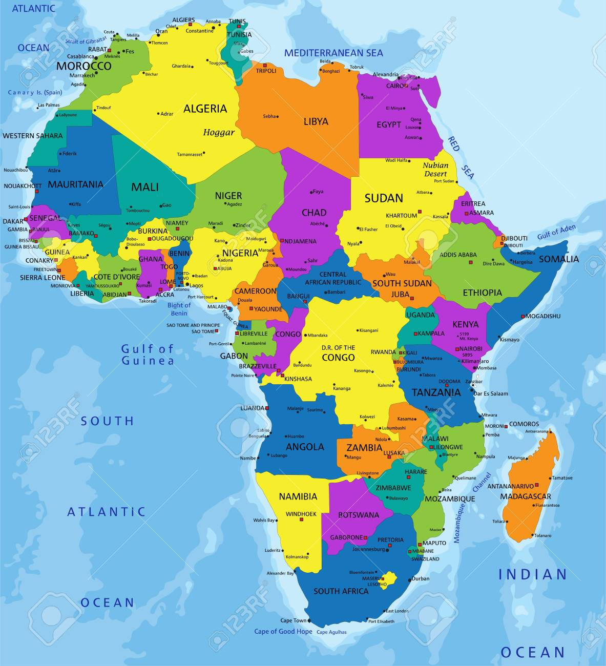 Colorful Africa Political Map With Clearly Labeled Separated Royalty Free Cliparts Vectors And Stock Illustration Image 121667556
