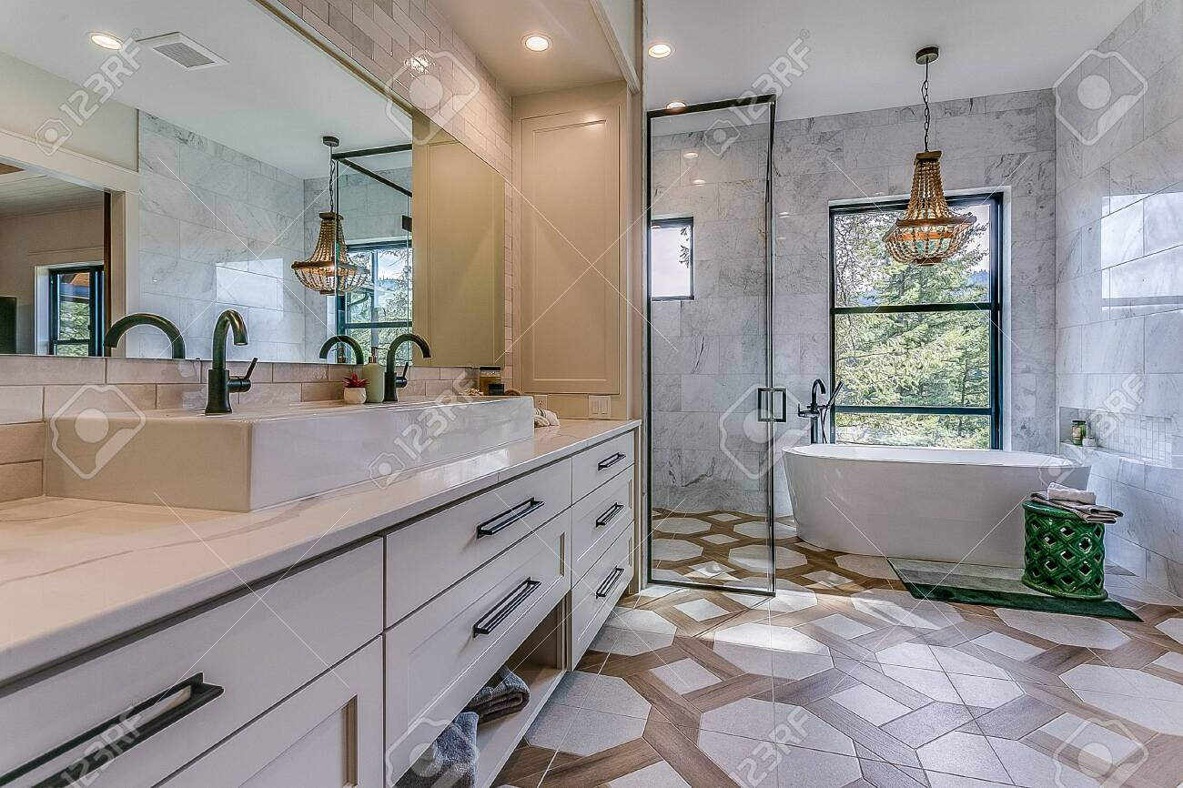 amazing bathroom suite with vessel sink double faucets freestanding