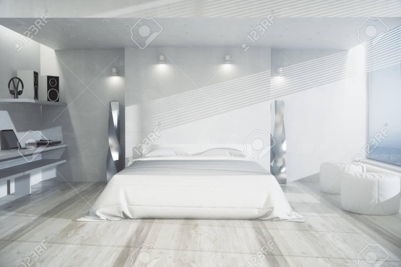 interieur de chambre moderne avec mobilier blanc parquet et vue panoramique concept design rendu 3d