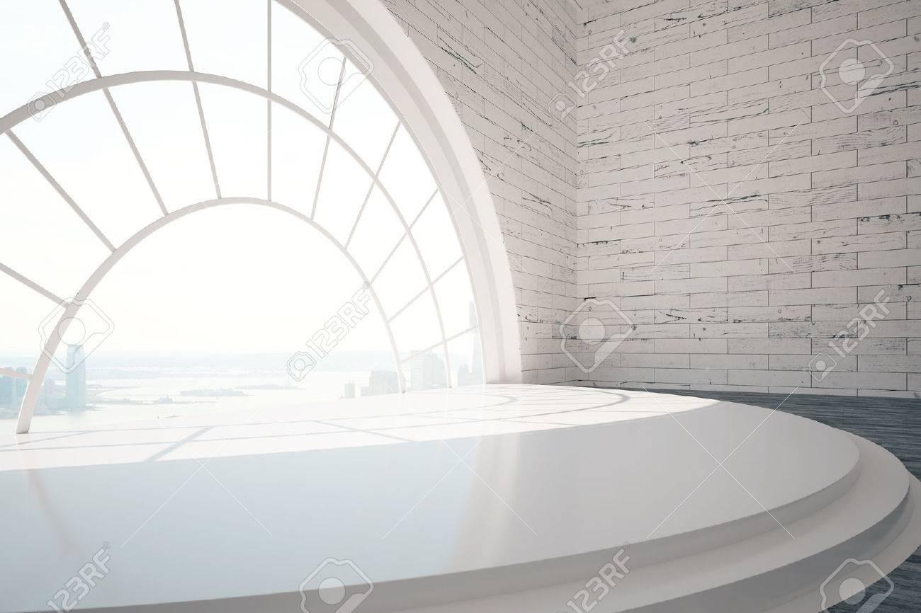 Empty Brick Interior Design With Stairs Round Window City View | Window Design For Stairs | Stylish | House Box Window | U Shaped | Big Window | Luxury Window
