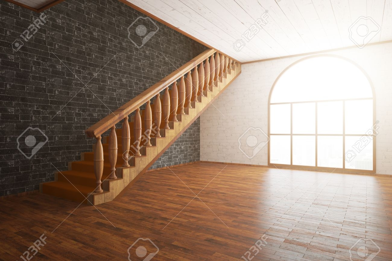 Side View Of Luxurious Interior With Wooden Floor And Staircase | Stairs Side Wall Design | Modern | Stone | Pop | Wallpaper | Stair Pattern