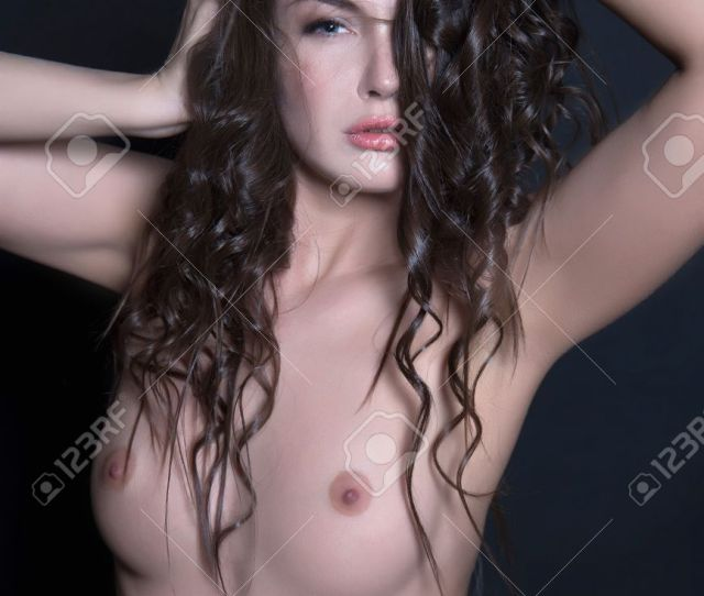 Beautiful Nude Woman With Perfect Body Naked Sexy Girl Curly Healthy Hair Stock Photo