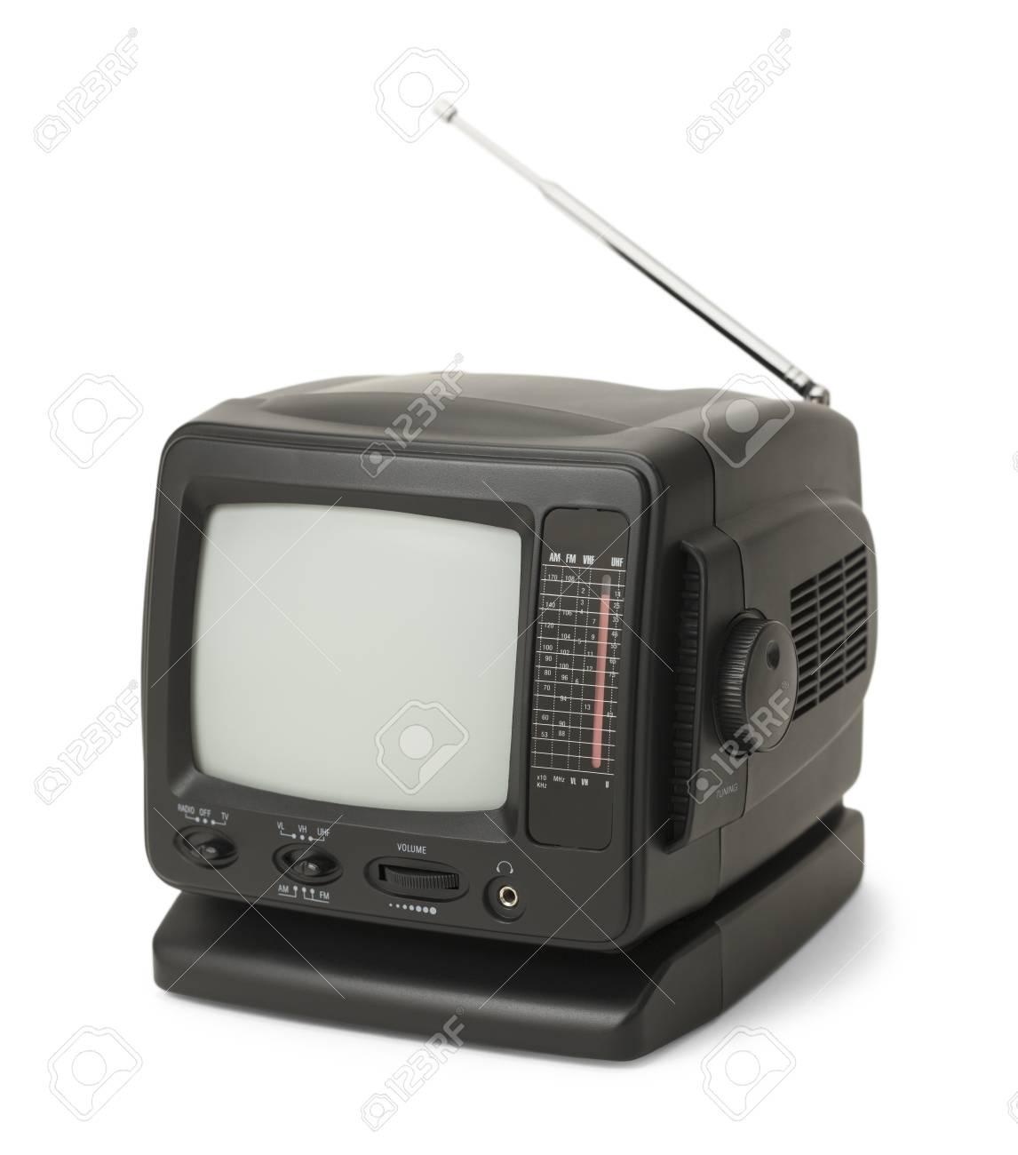 petite television noire avec antenne isolee sur fond blanc banque d images et photos libres de droits image 68671912