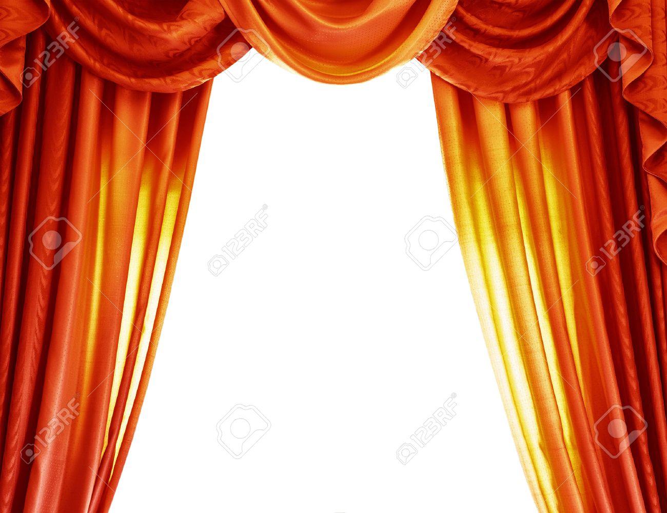 rideaux orange de luxe isole sur fond blanc frontiere abstraite rideau ouvert sur le theatre le concept de representation theatrale