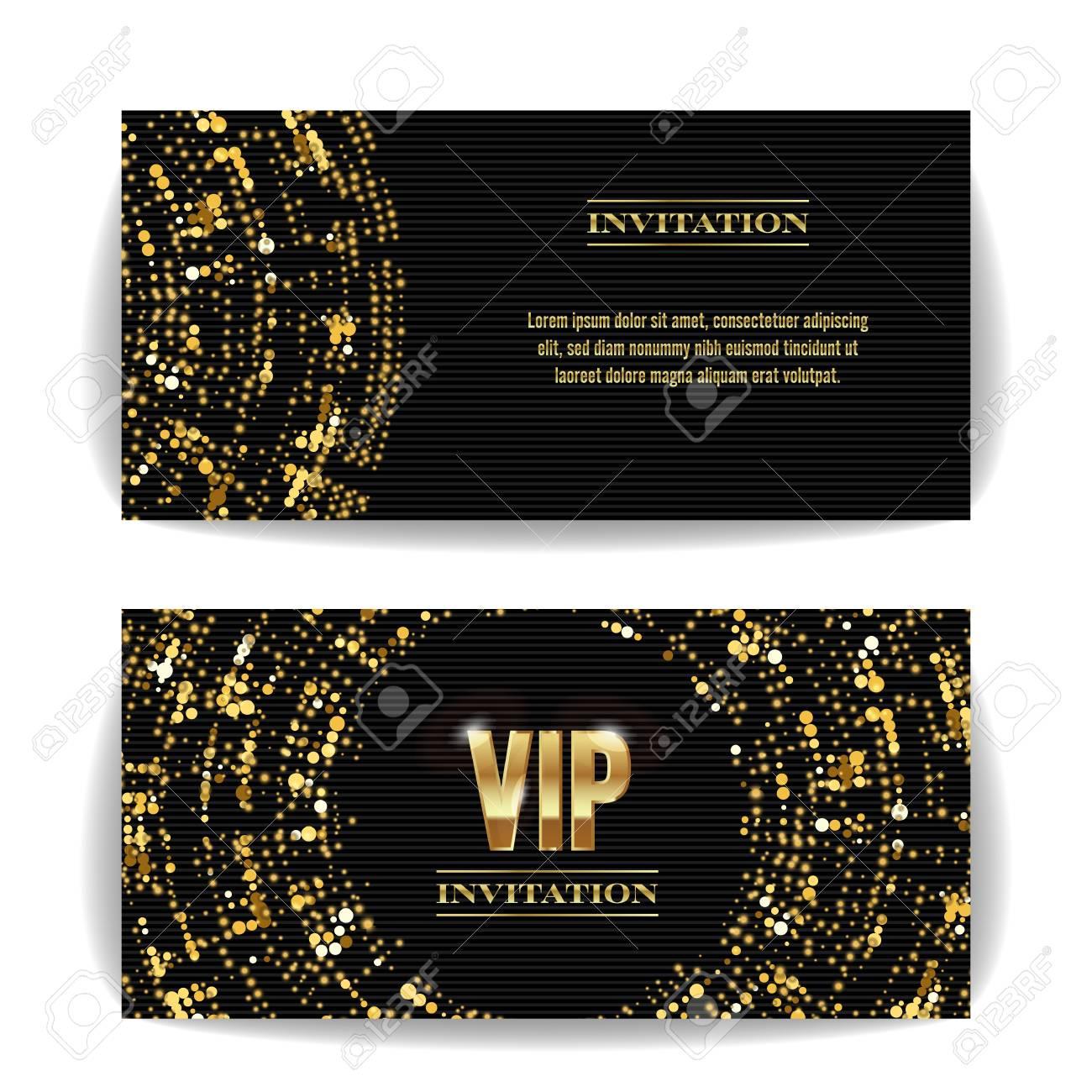 vecteur de carte d invitation vip party premium affiche vierge flyer modele de conception d or noir modele de modele decoratif lettres a facettes