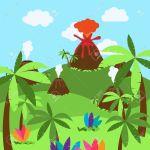 Cute Cartoon Background Of Desert Jungle Or Dinosaur Era Landscape Royalty Free Cliparts Vectors And Stock Illustration Image 60677153