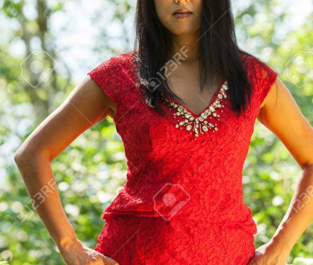 Mature Asian Woman With Red Dress Stock Photo 59668338