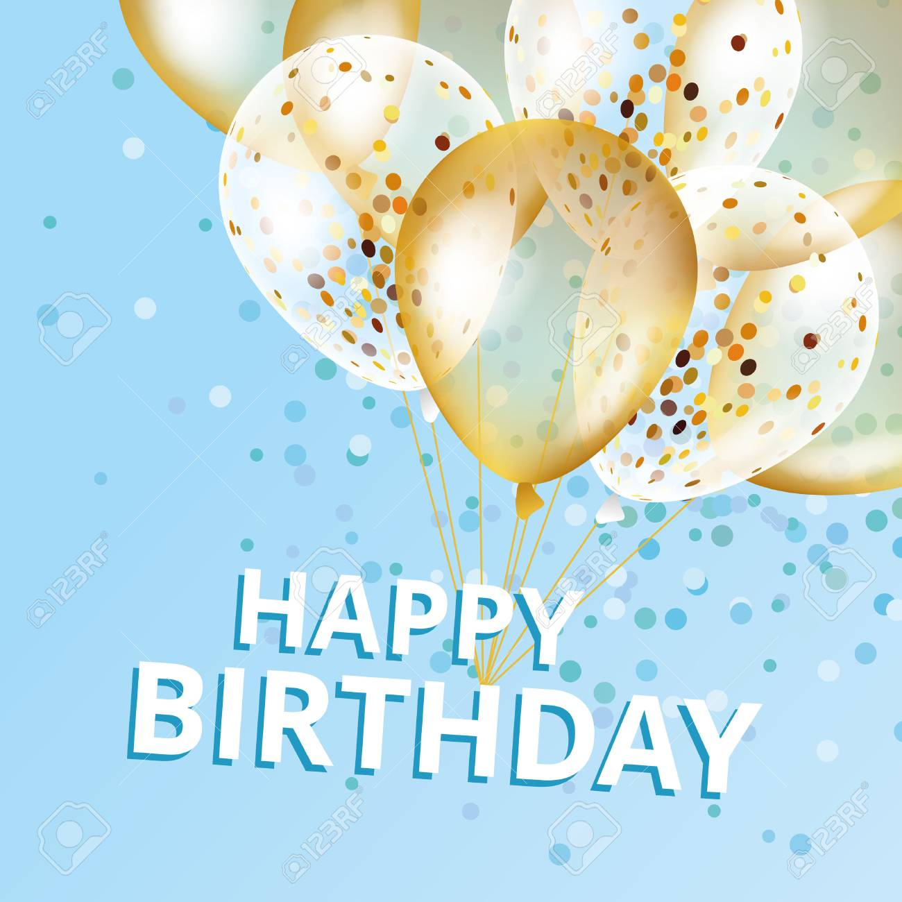 Balloons Happy Birthday Gold And Blue Balloons Background Happy Royalty Free Cliparts Vectors And Stock Illustration Image 72562420