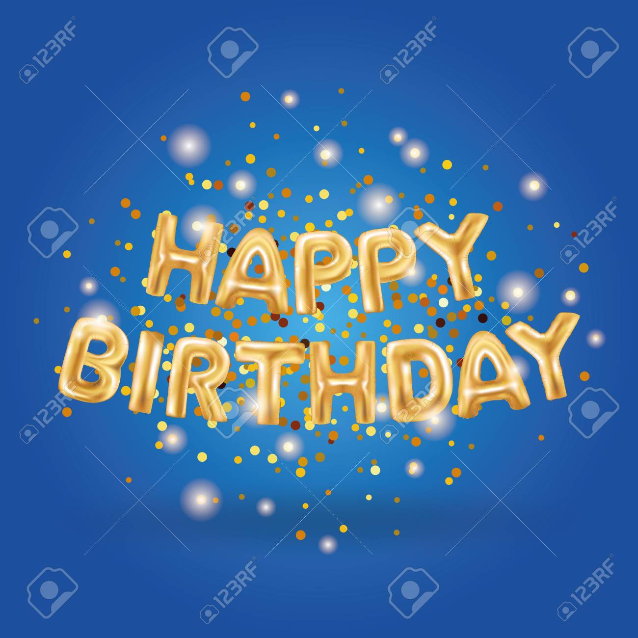 Gold Balloons Happy Birthday On Blue Golden Balloon Sparkles Royalty Free Cliparts Vectors And Stock Illustration Image 72562419