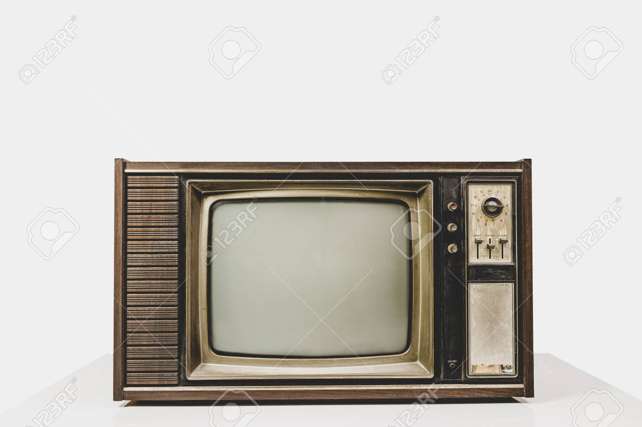vintage old tv on table white background retro television with stock photo picture and royalty free image image 111339009