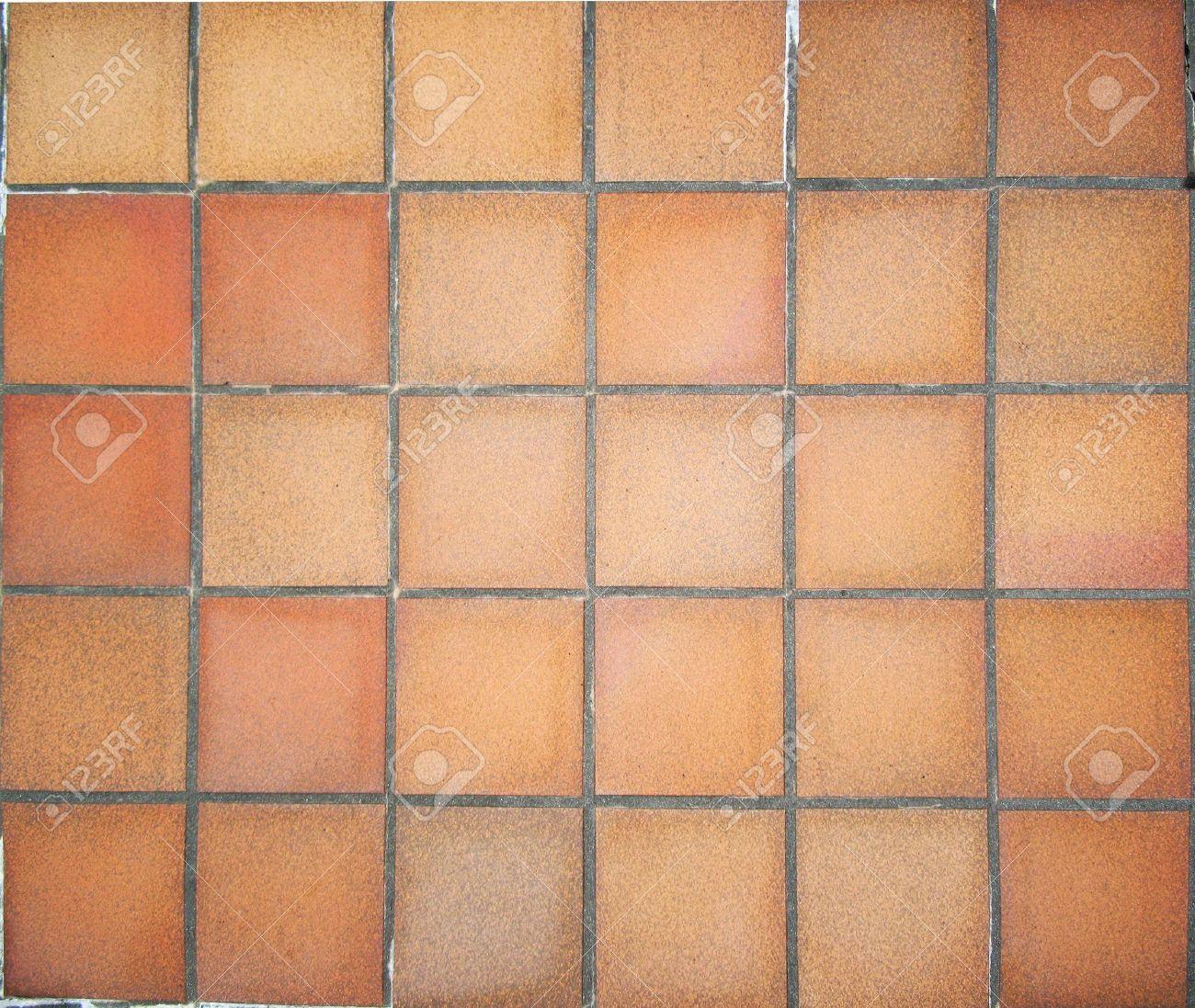 floor in terracotta square tiles
