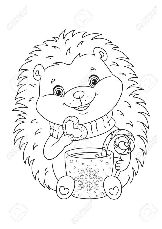 Happy Christmas Hedgehog Coloring Page Royalty Free Cliparts