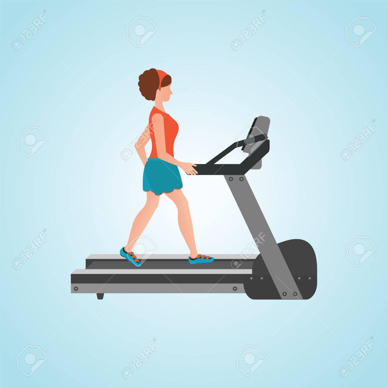 jeune femme adulte courir sur tapis roulant sport fitness athletisme mode de vie sain cartoon caractere vector illustration