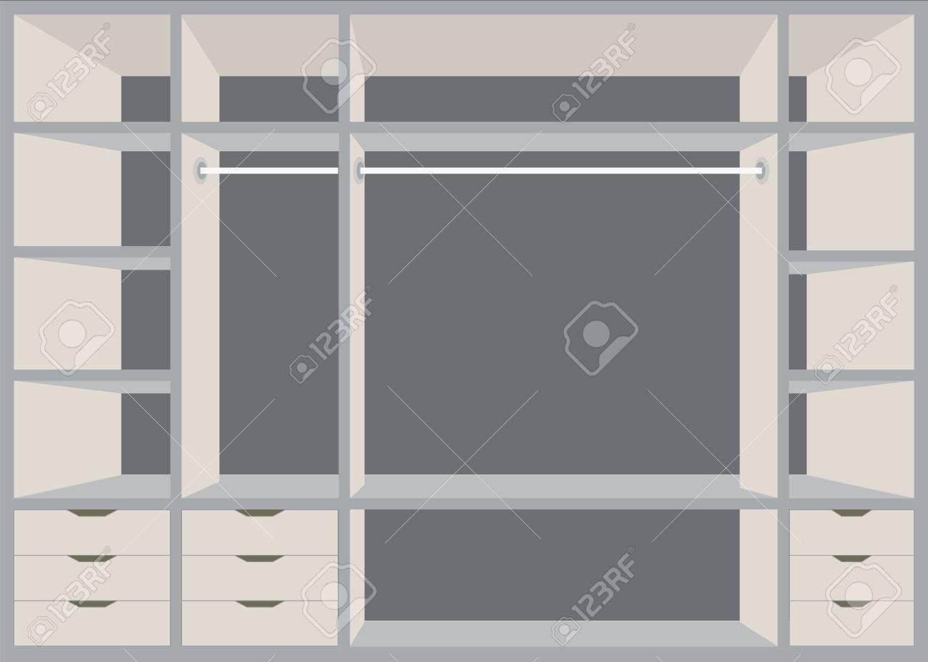 banque d images design plat promenade dans le placard avec etageres design d interieur meubles salle de garde robe illustration vectorielle