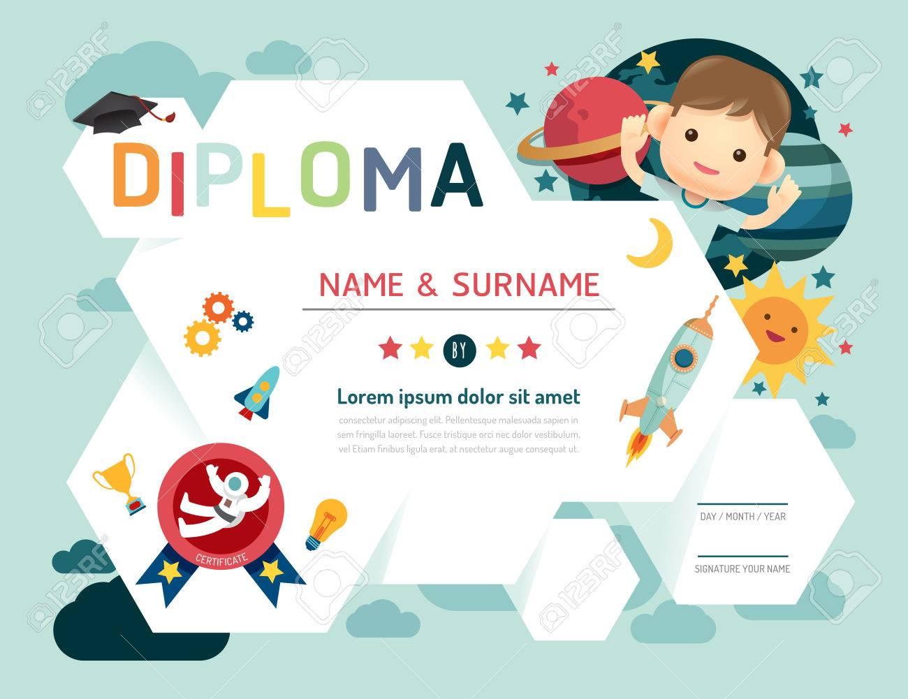 Certificate Kids Diploma Kindergarten Template Layout Space