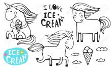 Unicorn Ice Cream Cone Coloring Page