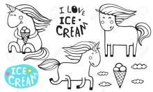 Unicorn Ice Cream Cone Coloring Page