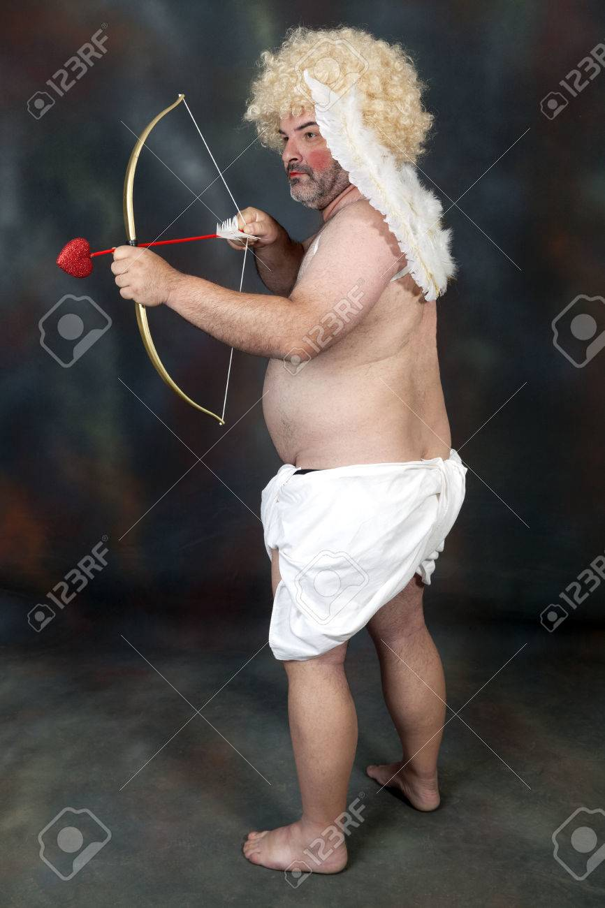 Fat Bearded Mature Hairy Cupid With Bow And Heart Arrow Stock Photo 35456831