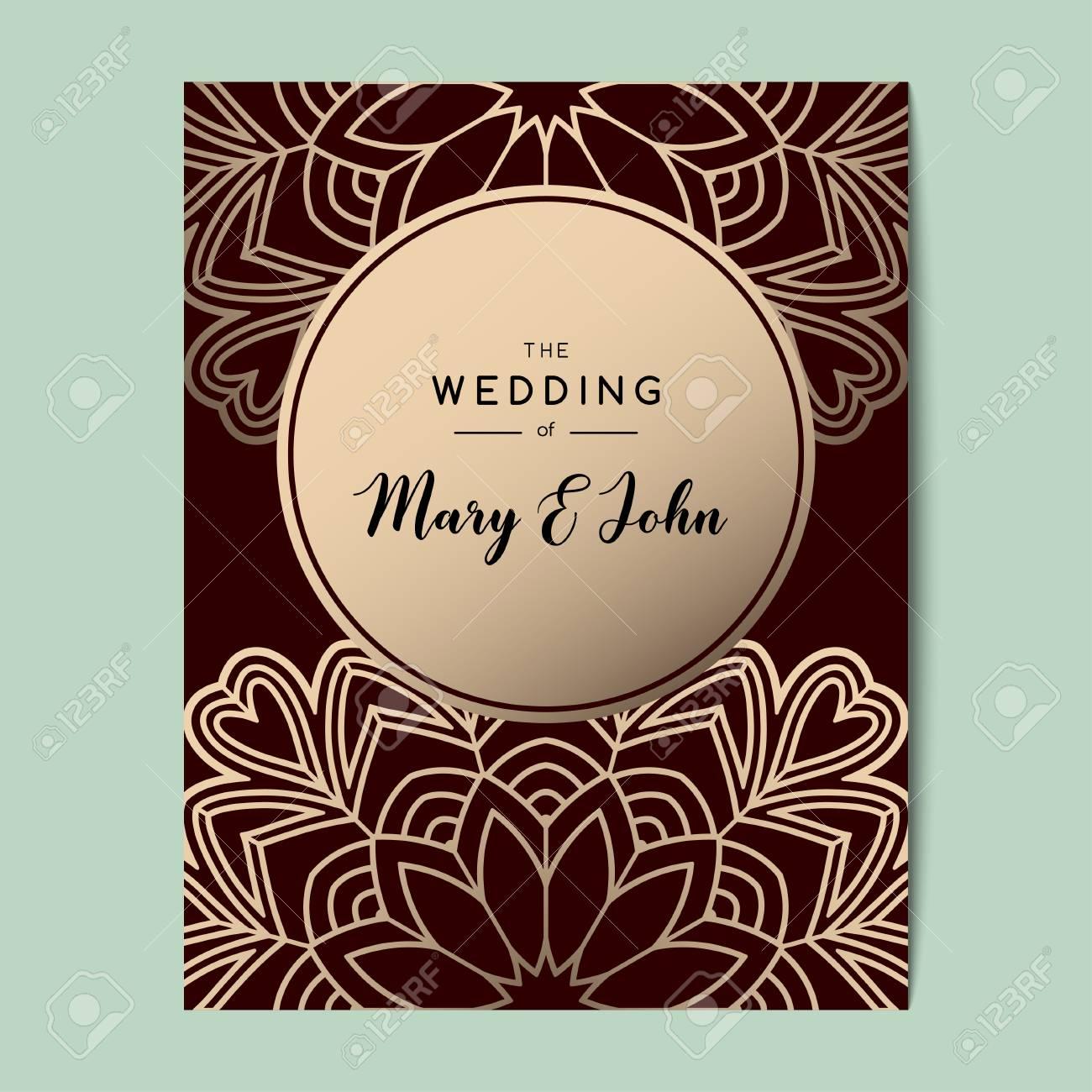 elegant wedding invitation background card design with floral