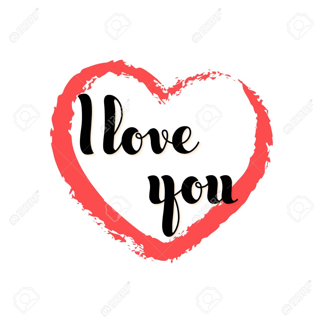 vector hand written words i love you inside a red heart poster