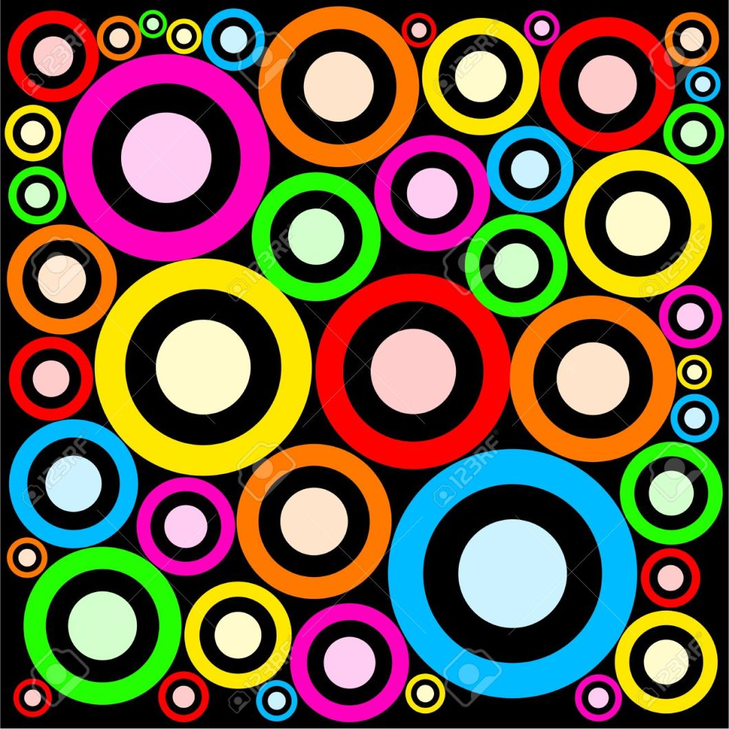 Really Fashionable And Funky Retro Ring Shaped Abstract Wallpaper