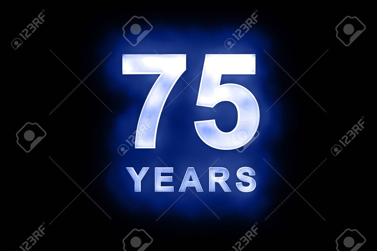 75 years in glowing white numbers and text on blue background