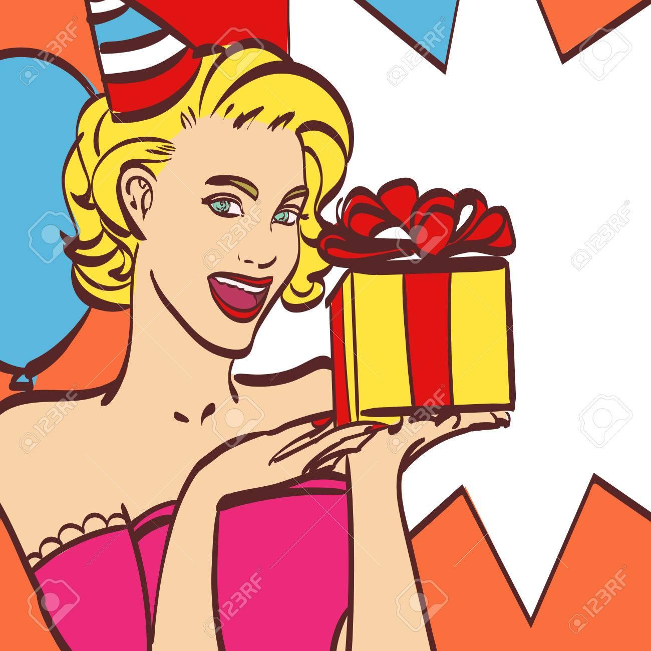 fille de pop art avec bulle de pensee invitation a une fete carte d anniversaire hollywood star de cinema femme comique dame sexy vente remise
