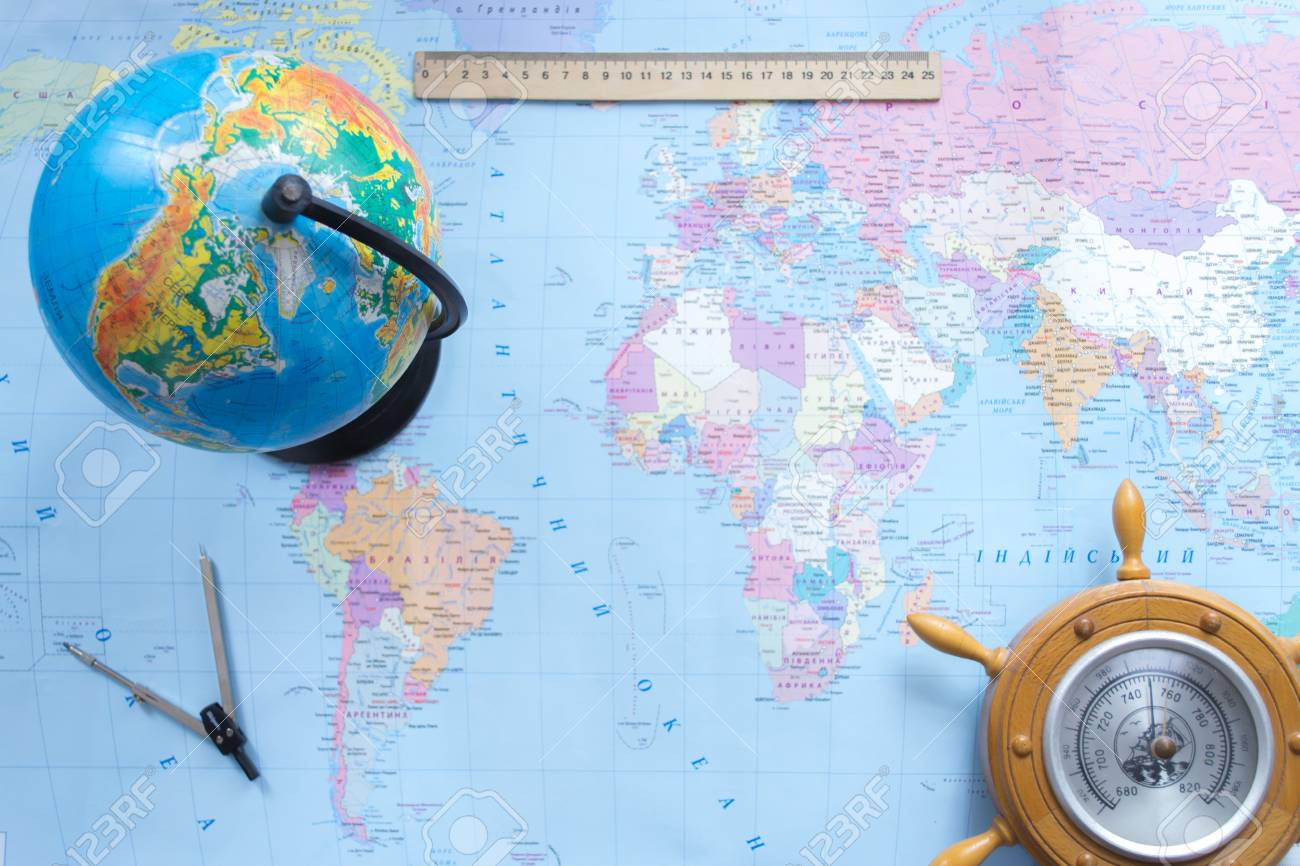 Globe Political Map Of The World On A Blurred Background Stock Photo     Globe political map of the world on a blurred background Stock Photo    75004132