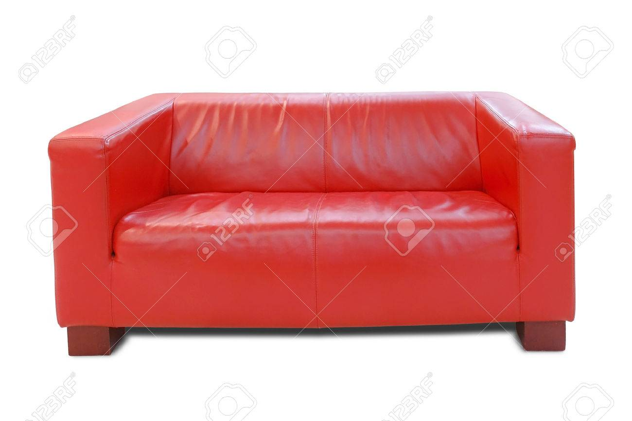 Modern Red Leather Sofa Over White Background Stock Photo Picture And Royalty Free Image Image 1710456
