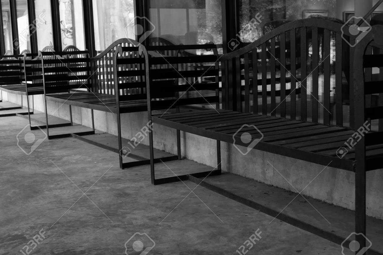 Row Of Black Metal Bench On The Patio Of The Building Black Stock Photo Picture And Royalty Free Image Image 49728153