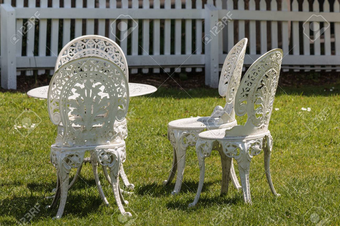 white wrought iron garden furniture stock photo picture and royalty free image image 47395192