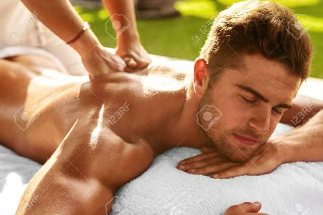 Spa Body Massage Close Up Beautiful Sexy Healthy Happy Man Enjoying Relaxing Back Massage In