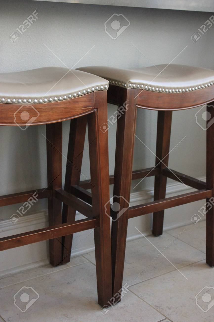 Two Contemporary Wooden Bar Stools Stock Photo Picture And Royalty Free Image Image 26824983