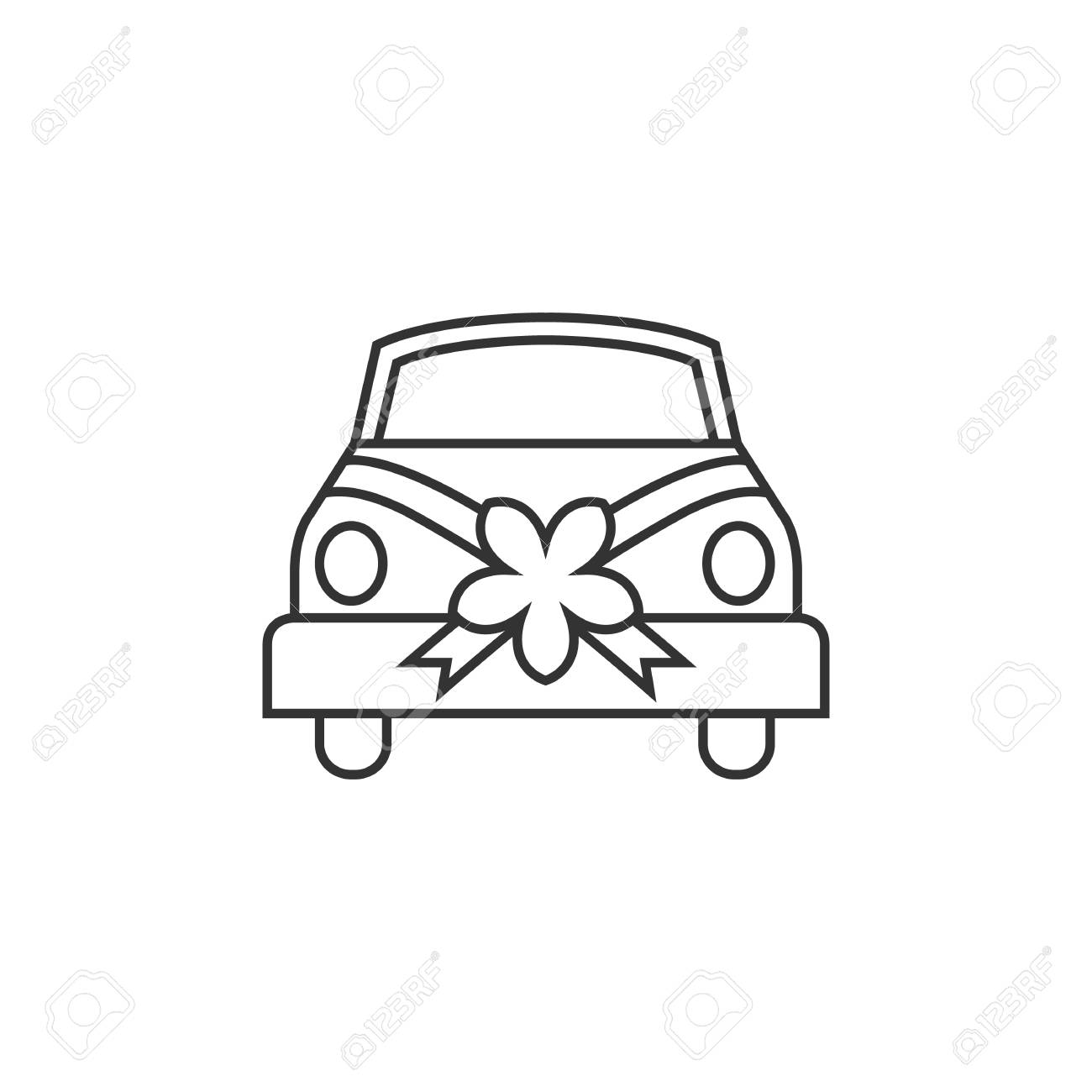 Hochzeit Auto Vektor Illustration Karte Mit Braut Und Brautigam