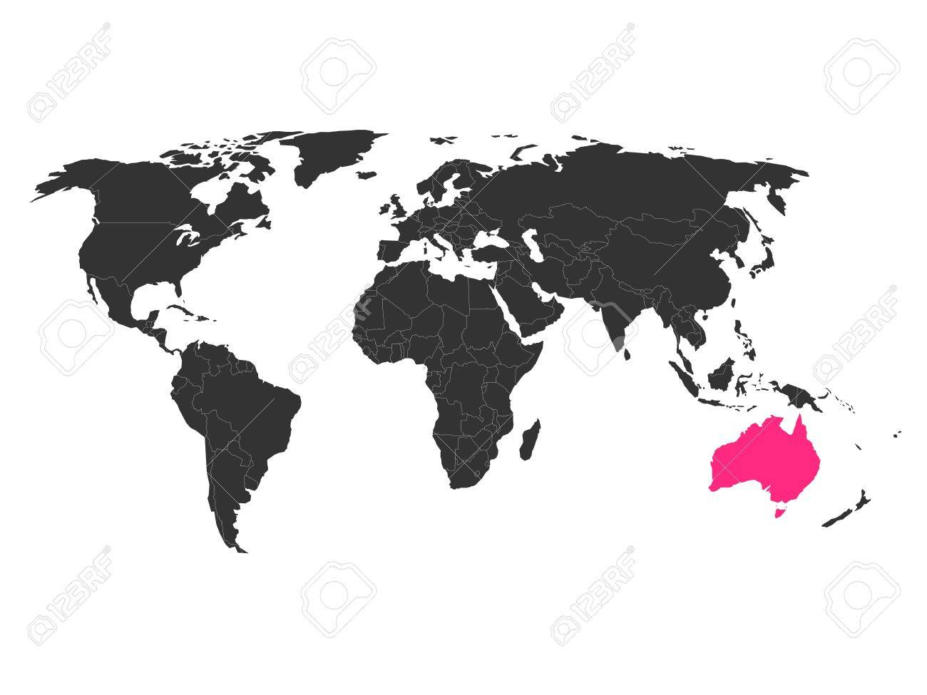 World Map With Highlighted Australia  Simlified Political Vector     Vector   World map with highlighted Australia  Simlified political vector  map in dark grey and pink highlight