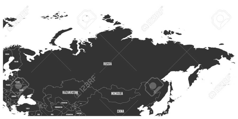 Political Map Of Russia And Surrounding European And Asian Countries     Political map of Russia and surrounding European and Asian countries Dark  grey map with white