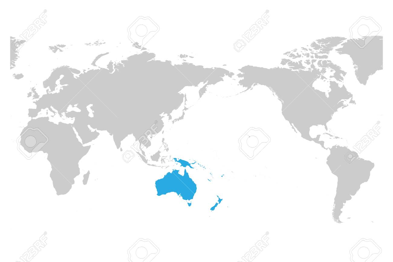 Australia And Oceania Continent Blue Marked In Grey Silhouette     Australia and Oceania continent blue marked in grey silhouette of World map   Simple flat vector