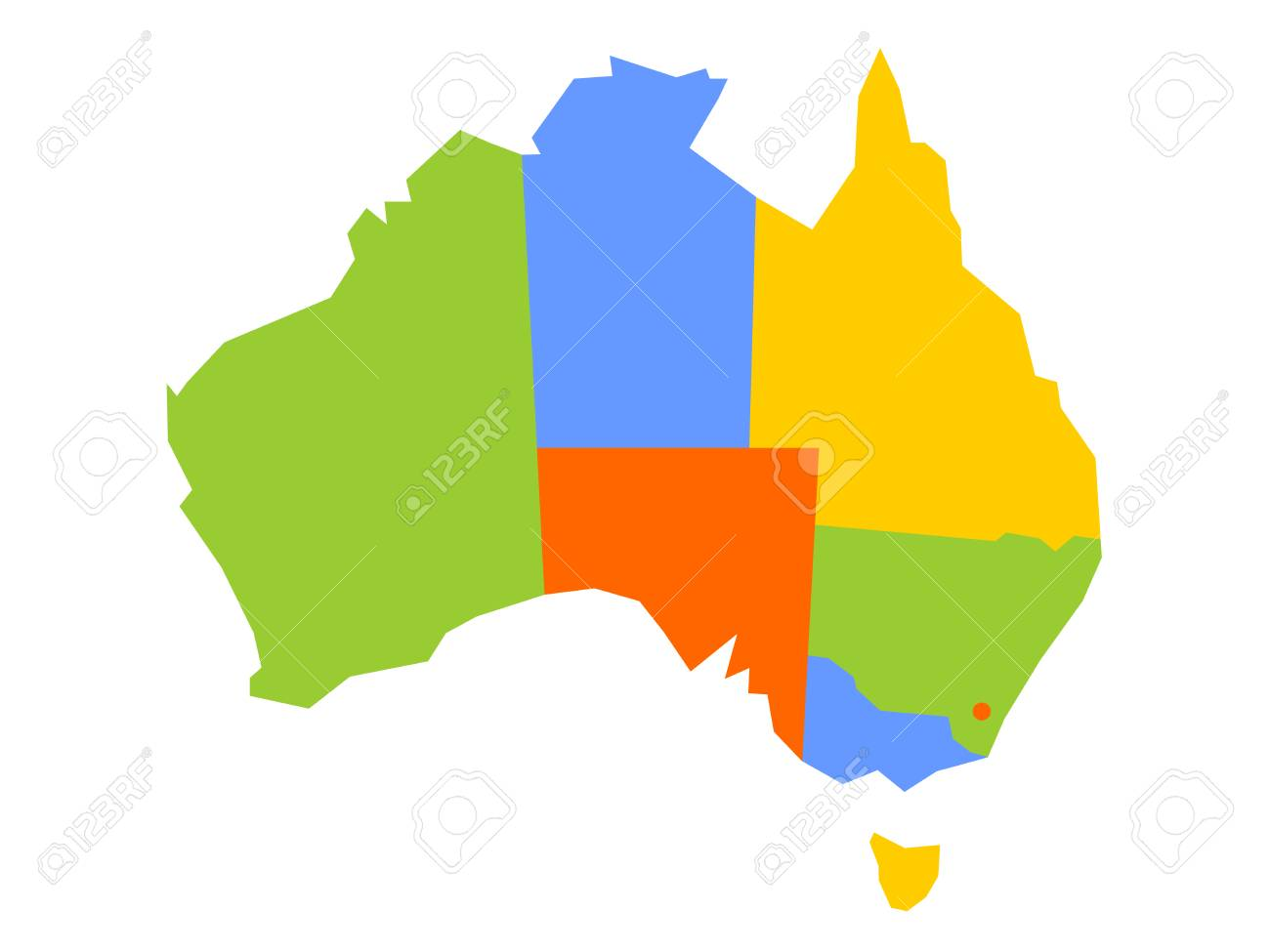 Colorful Blank Map Of Australia  Vector Illustration  Royalty Free     Colorful blank map of Australia  Vector illustration  Stock Vector    97919008