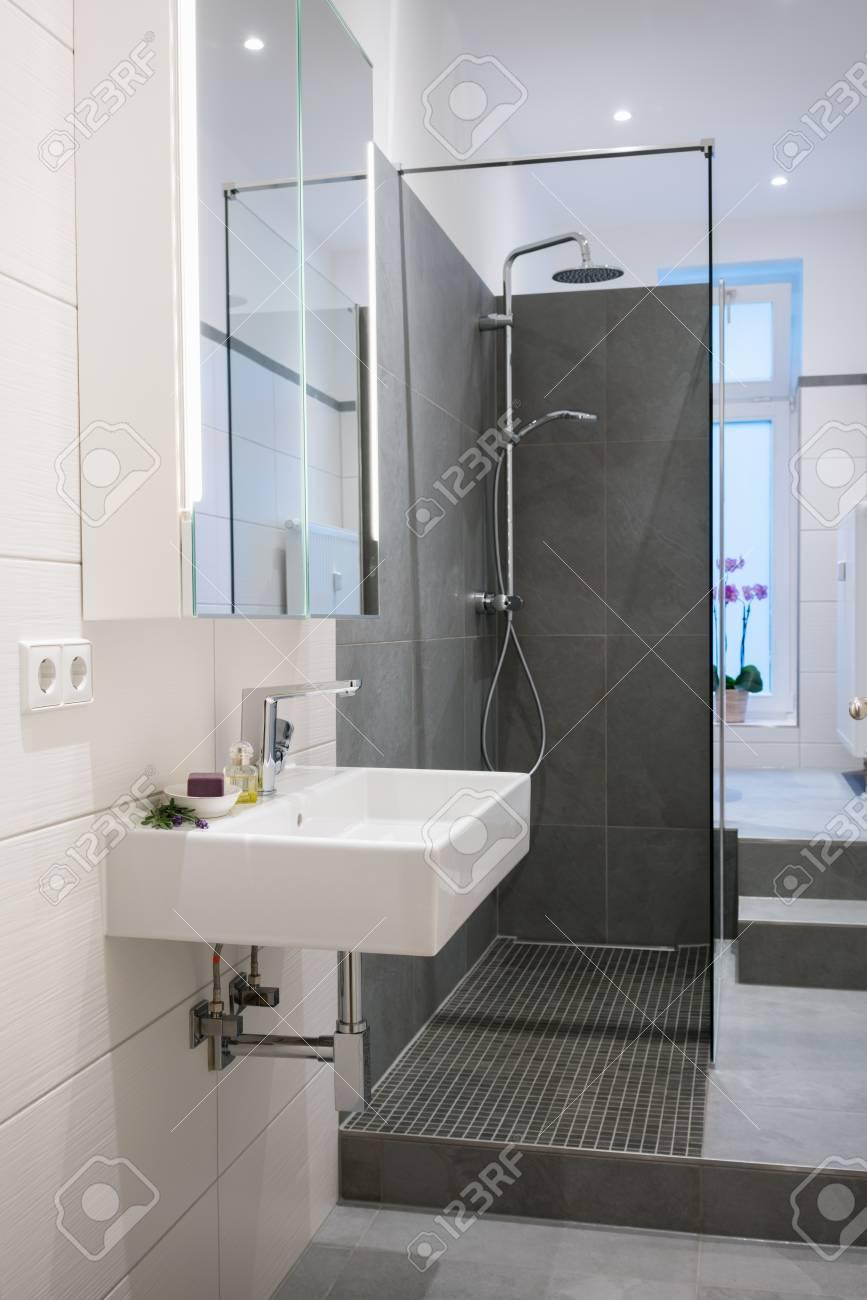 interieur de salle de bains haut de gamme moderne avec un lavabo rectangulaire mural une cabine de douche en verre et des sols et des murs carreles dans des tons neutres banque