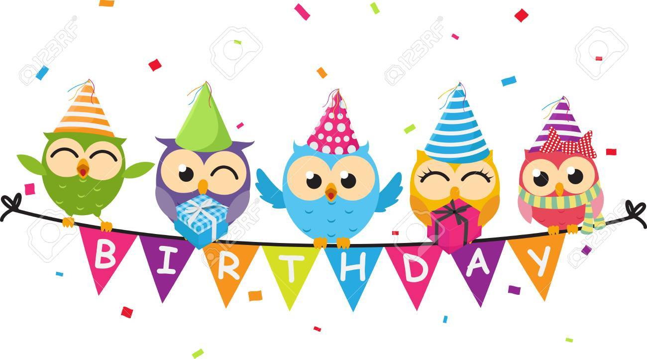 Happy Birthday Card With Owl And Bunting Flag Royalty Free Cliparts Vectors And Stock Illustration Image 82041025