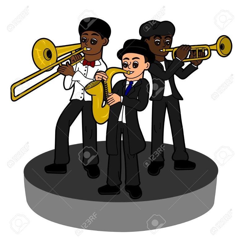 jazz band trio, cartoon illustration auf einem weißen hintergrund