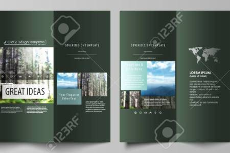 Tri fold Brochure Templates On Both Sides  Abstract Vector Layout     Tri fold brochure templates on both sides  Abstract vector layout in flat  design