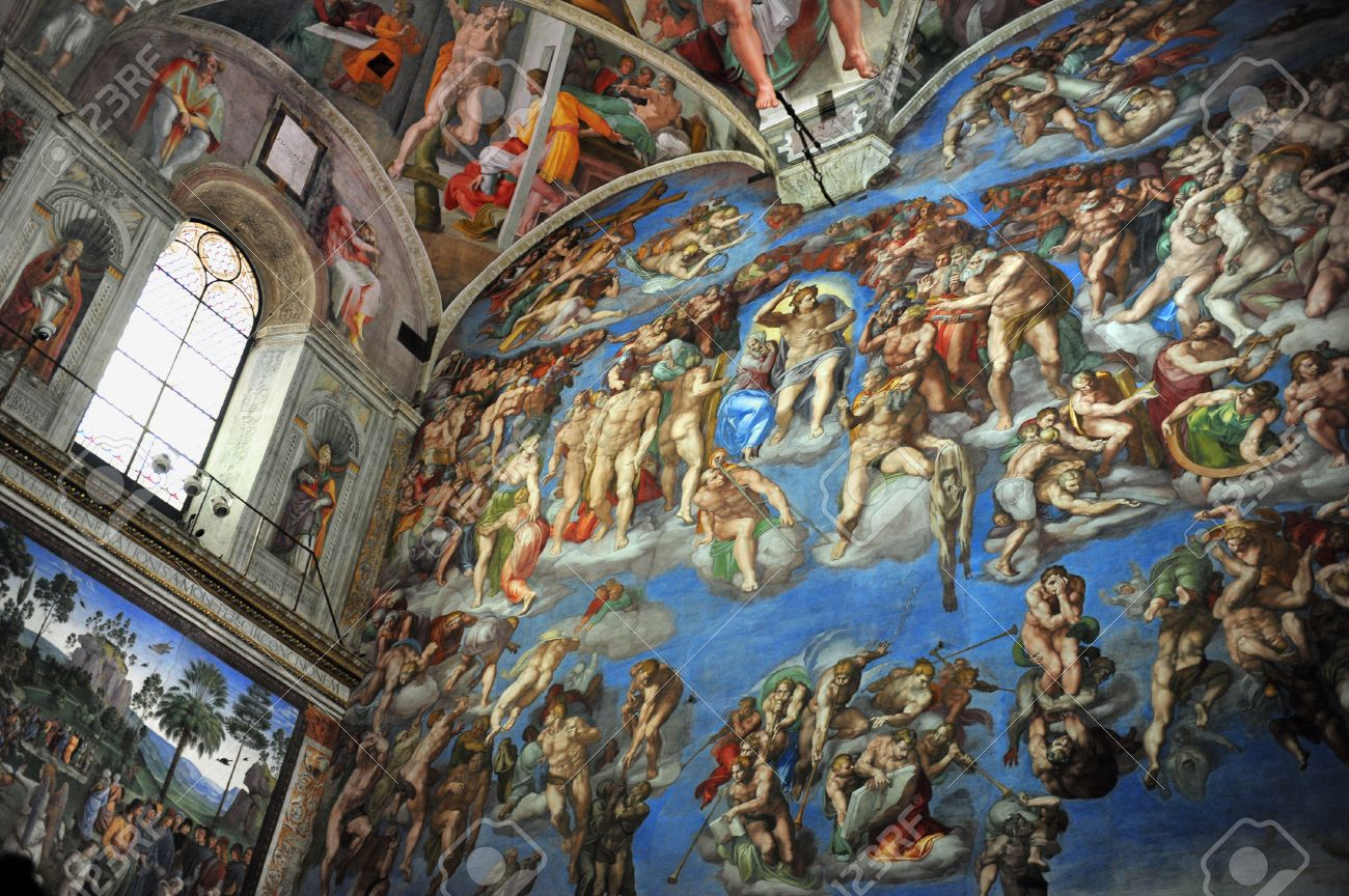 The Sistine Chapel Ceiling Of Michelangelo At Vatican Museum