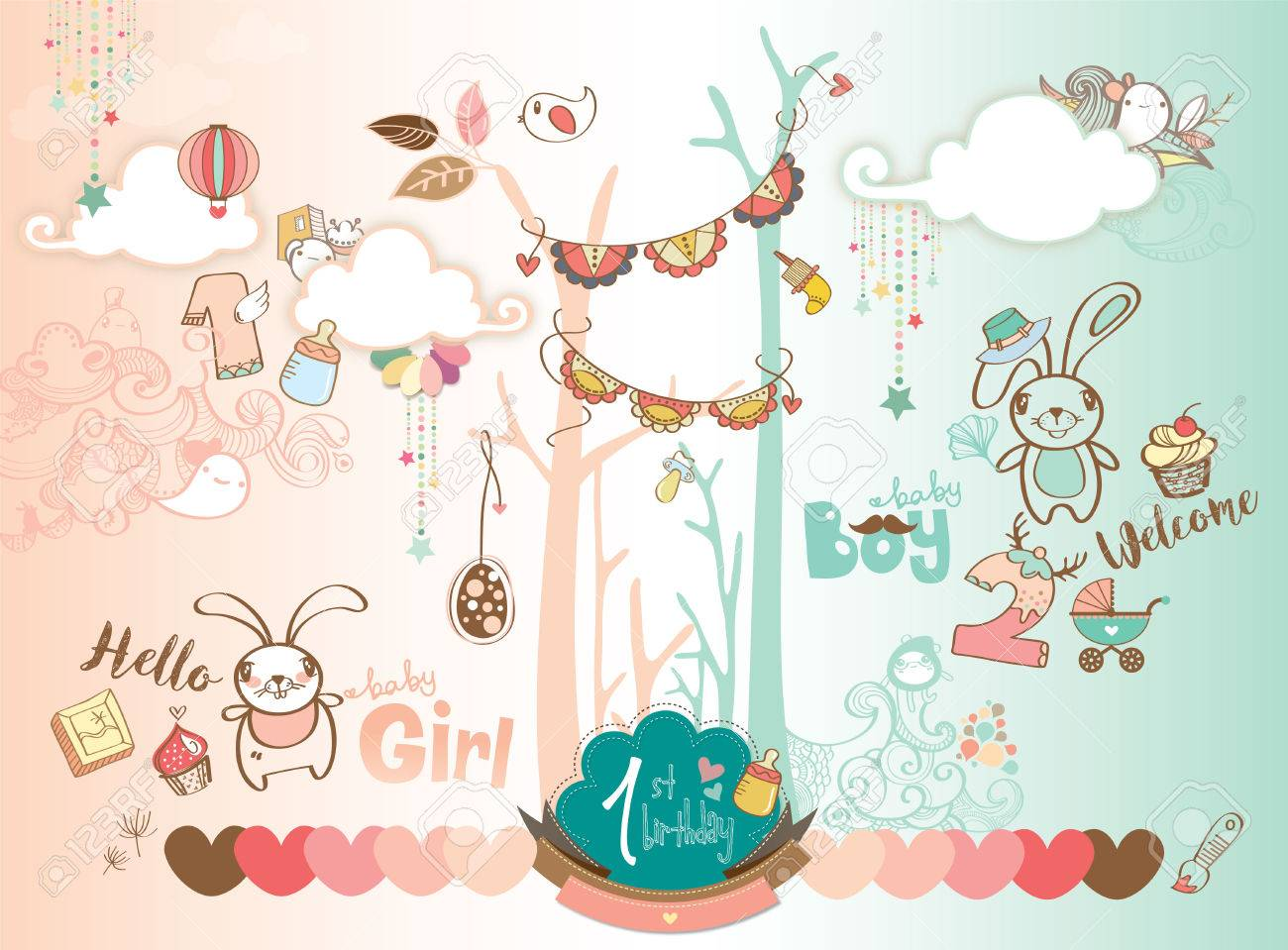 cute baby boy and girl 1st birthday celebration background design