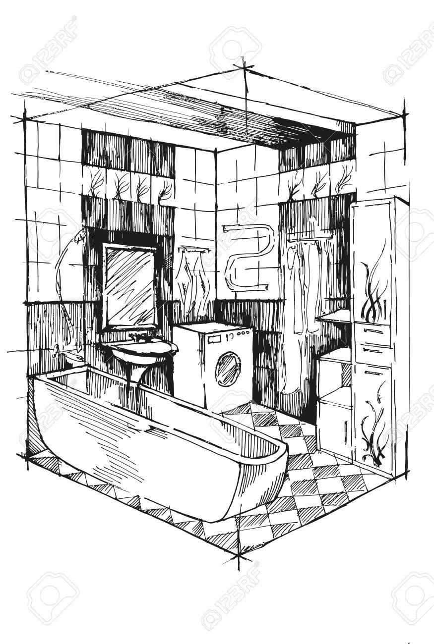 banque d images salle de bain croquis perspective interieure interieur isometrique de salle de bains