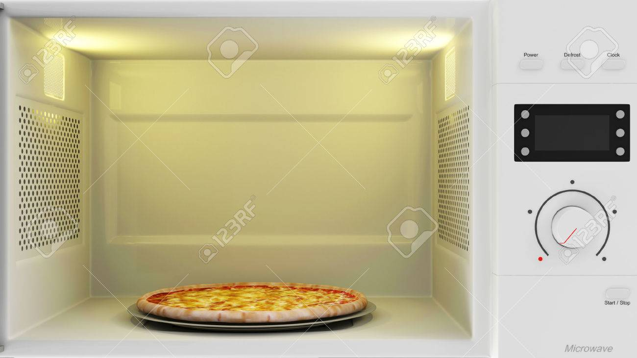 food preparing concept close up view of open microwave oven
