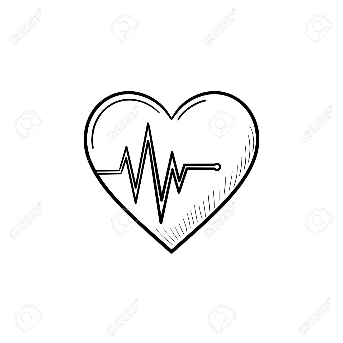 Heart Beat Rate Hand Drawn Outline Doodle Icon Pulse As Health